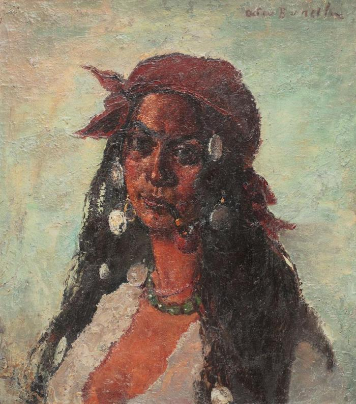 Gypsy_Woman_with_Necklace_and_Pipe_by_Octav_Băncilă_1915